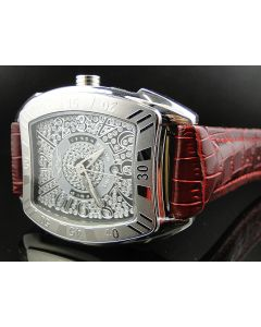 King Master Rounded White Burgundy Reptile Diamond Watch