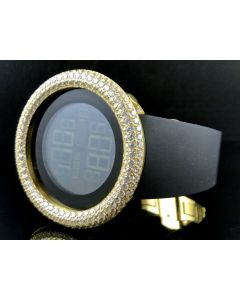 Mens Simulated Diamond Designer Watch In Yellow Gold Finish