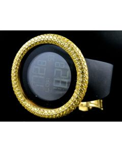 Mens Simulated Diamond Designer Watch In Canary Gold Finish