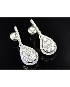 Teardrop Pear Shaped Diamond Drop Earrings (1.57ct)