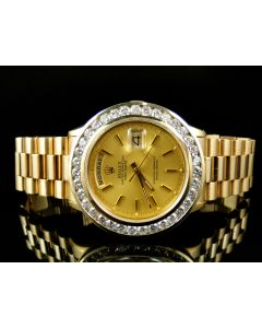 18k Yellow Gold Rolex President Day-Date with 5 Ct Bezel