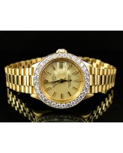 18k Yellow Gold Rolex President Datejust with 3 Ct Bezel