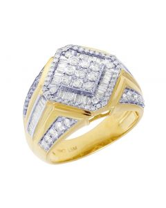 Mens Yellow Gold Diamond Shape Baguette Pinky Ring 16.5MM 1.5CT