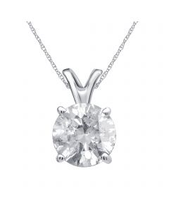 14K White Gold Real Round Diamond Solitaire Pendant Chain 0.20ct