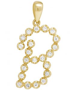 10K Yellow Gold Real Diamond Initial B Pendant 0.30 CT 1""