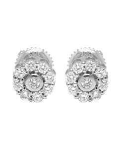 10K White Gold Real Diamond Bezel Stud Earrings 0.50 CT 7MM