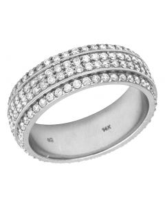 14K White Gold Real Diamond 4 Row Wedding Band Ring 2.10 CT 7MM