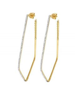 14K Yellow Gold Diamond One Row Designer Dangling Earrings 0.50 Ct 2.5""