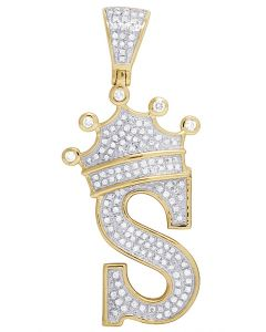 "10K Yellow Gold Diamond Tilted Crown Initial ""S"" Pendant 0.50 Ct 1.75"""