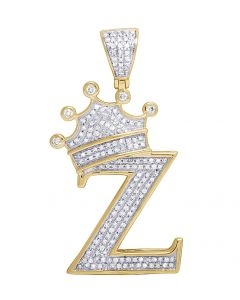 "10K Yellow Gold Diamond Tilted Crown Initial ""Z"" Pendant 0.55 Ct 1.6"""
