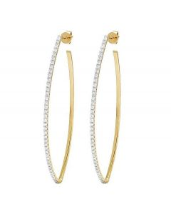 14K Yellow Gold Diamond One Row Designer Hoop Earrings 1 Ct 2.3""