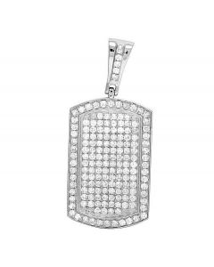 10K White Gold Iced Dogtag Diamond Pendant 2.5 Ct 1.6""
