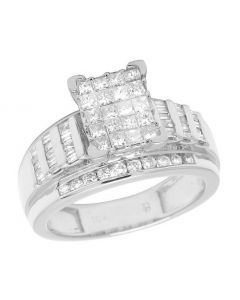 10K White Gold Baguette Princess Diamond Engagement Ring 1 Ct 10MM