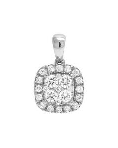 Ladies 14K White Gold Genuine Diamond Square Halo Cluster Pendant 1/2 Ct 15MM