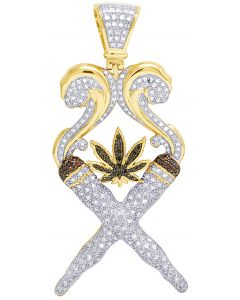 Diamond Marijuana Charm Leaf joint Fire 10K Yellow Gold Pendant 1.5Ct 2.5""