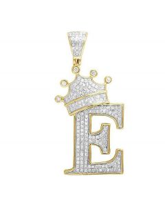 "10K Yellow Gold Diamond Tilted Crown Initial ""E"" Pendant 0.65 Ct 1.75"""