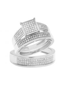 10K White Gold Diamond Square Trio Wedding Ring Set 0.65 Ct