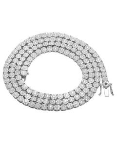 Men's 10K White Gold VS Diamond 4MM Cluster Tennis Chain Necklace 14 CT 24""