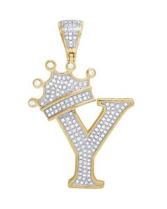 "10K Yellow Gold Diamond Tilted Crown Initial ""Y"" Pendant 0.55 Ct 1.6"""
