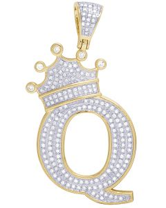 "10K Yellow Gold Diamond Tilted Crown Initial ""Q"" Pendant 0.65 Ct 2"""