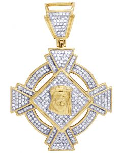10K Yellow Gold Jesus Diamond Pendant Charm 0.65Ct 1.75""
