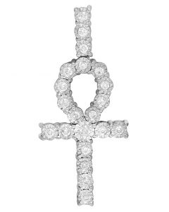 10K White Gold Diamond Miracle Set Ankh Cross Pendant 0.50 Ct 1.5""