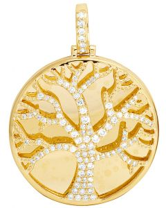 Tree of Life Medallion Diamond 1.25 Ct in 10K Yellow Gold Pendant 1.75""