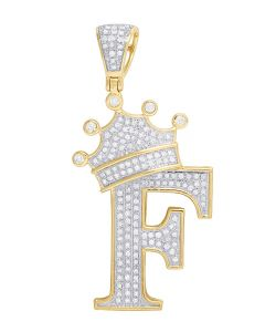 "10K Yellow Gold Diamond Tilted Crown Initial ""F"" Pendant 0.55 Ct 1.75"""