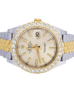 Rolex 18K/ Steel Two Tone Datejust II 126333 41MM Diamond Watch 6.8 Ct