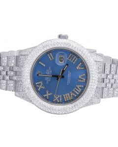 Rolex Datejust II 116300 41MM Blue Dial Diamond Watch 17.5 Ct