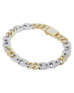 "14K Two-Tone Gold Diamond Mariner Cuban Bracelet 10MM 9"" 6.7CT"