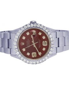 Rolex Datejust 36MM S.Steel Red Dial Diamond Watch 4.0 Ct