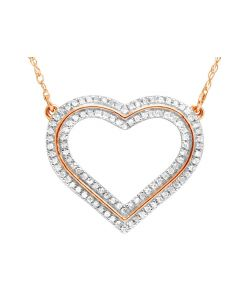 Ladies 14K Rose Gold Real Diamond Love Heart Pendant Necklace 1/4 CT