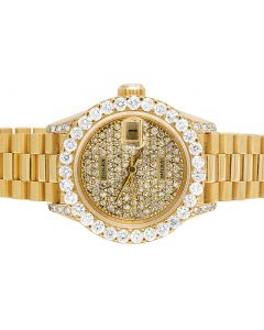 Ladies 18K Yellow Gold 26MM Presidential 69178 Diamond Watch 5.0 Ct