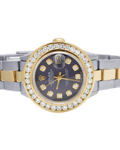 Ladies Rolex Datejust 26MM 18K/ Steel Black Dial Diamond Watch 3.0 Ct