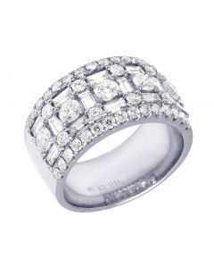 14K White Gold Baguette Band 11.5 MM 2.5 CT