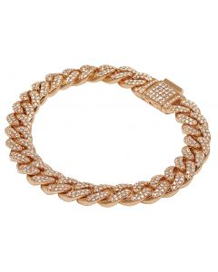 "Rose Gold Diamond Miami Cuban Link Bracelet 11 MM 8.5"" 6.7 CT"