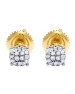 10K Yellow Gold Real Diamond Halo Earring Studs 4MM 0.12 CT