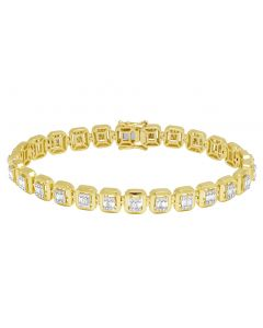 10K Yellow Gold 2CT Diamond Baguette 8MM Halo Bracelet 8""
