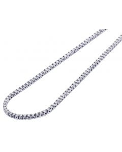 "Mens 10K White Gold 1 Row 4 Prong Real Diamond 5 Pointer Choker Tennis Chain 2.5mm 18""-24"""