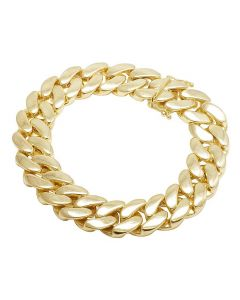 10K Yellow Gold Semi Hollow Miami Cuban Box Clasp Bracelet 17MM 8-9 Inches