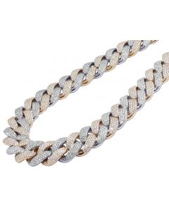 Two-tone Gold Miami Cuban XL Honeycomb Diamond Two Row Chain 70CT 20MM 21""