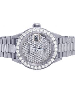 Ladies 18K White Gold 26MM Presidential 79179 Diamond Watch 4.5 Ct