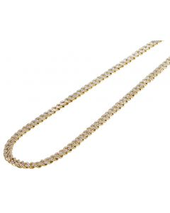 10K Yellow Gold Mens Cuban Link Real Diamond Chain Necklace 5mm 22""