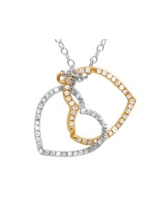 14K White Yellow Gold Real Diamond Double Heart Pendant Necklace 1/6 CT