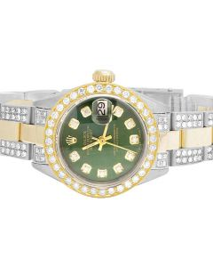 Ladies Rolex Datejust 18K/ Steel Two Tone Green 26MM Diamond Watch (6.0 Ct)