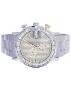 Mens G-Chrono Gucci 44MM White Dial Diamond Watch YA101360 3.0 Ct