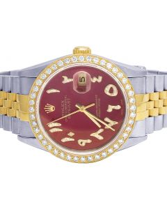 Rolex Datejust 18K/Steel Two Tone 36MM Red Dial Diamond Watch 2.75 Ct