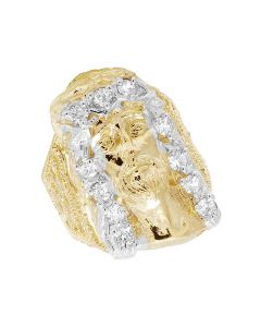 Men's Real 10K Yellow Gold Lab Diamond Jesus Ring 30MM