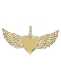 10K Yellow Gold 3.5Ct Diamond Heart Photo Engrave Wing Memory Pendant